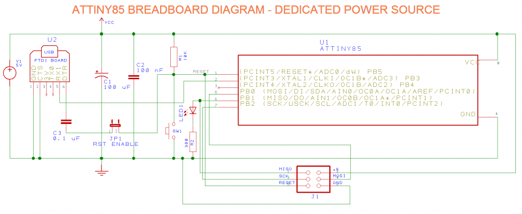 Figure 4 - ATTINY85 Breadboard diagram with dedicated power source